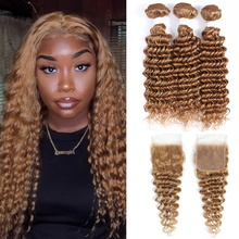 Deep Wave Hair Bundles With Closure 4x4 Brazilian Light Brown Blonde Human Hair 3 Bundles