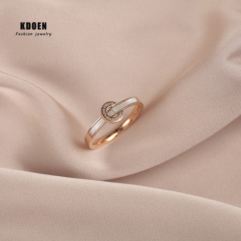 Classic Fashion Ring Letter Digital Titanium Steel Rose Gold Ring For Woman Student Finger Jewelry Party Girl's Temperament Ring