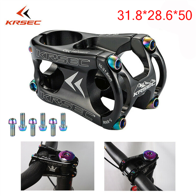 KRSEC Aluminium Stem MTB Mountain Bike Stem potence velo Titanium Bolts Colors Short HandleBar Stem for 28.6mm Bicycle Fork