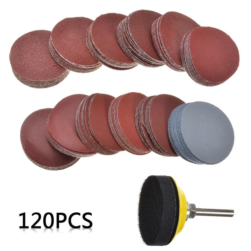 120Pcs 50mm Grit 60-3000 Sanding Disc   2'' Rubber Torque Tray    Sponge Pad For Roloc Roll Lock Abrasive Sanding Discs Pad Set