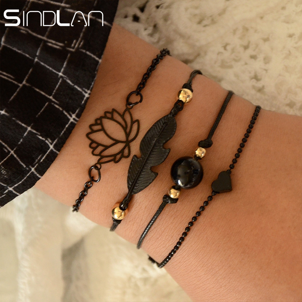 Sindlan 4PCs Gothic Black Feather Lotus Bracelets Set Heart Charm Boho Bangles for Women Wrist Chain Bracelets Fashion Jewelry