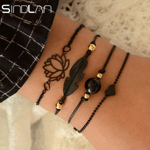 Sindlan 4PCs Gothic Black Feather Lotus Bracelets Set Heart Charm Boho Bangles for Women Wrist Chain Bracelets Fashion Jewelry(China)