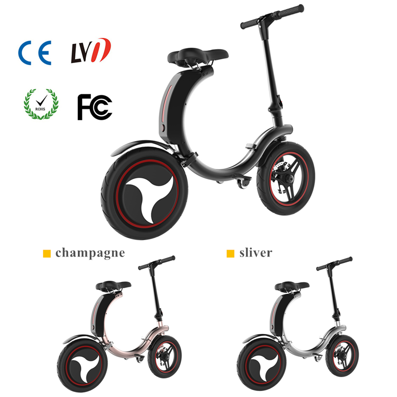 Full Folding Electric Bike 14 inch Big Wheel Electric Bicycle with Disc Brake and Electronic Brake 35km/h Max Speed Mini E-bike