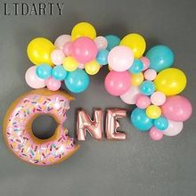 Folha balões confetes látex ballon conjunto decoração um donut crescer balão do bebê menino menina 1st aniversário babyshower