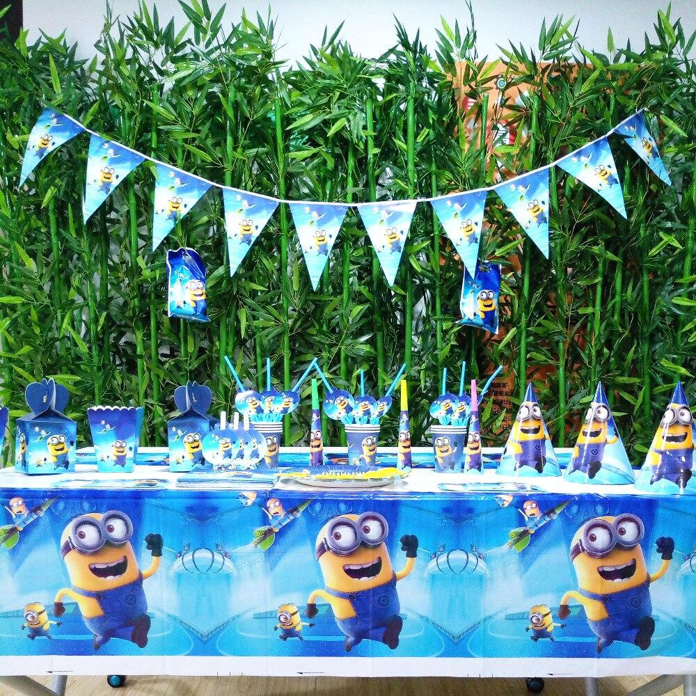 132 pièces/sac drapeaux nappe pailles tasses assiettes Minions et autres fournitures de fête enfants fête d'anniversaire fournitures décoration faveurs