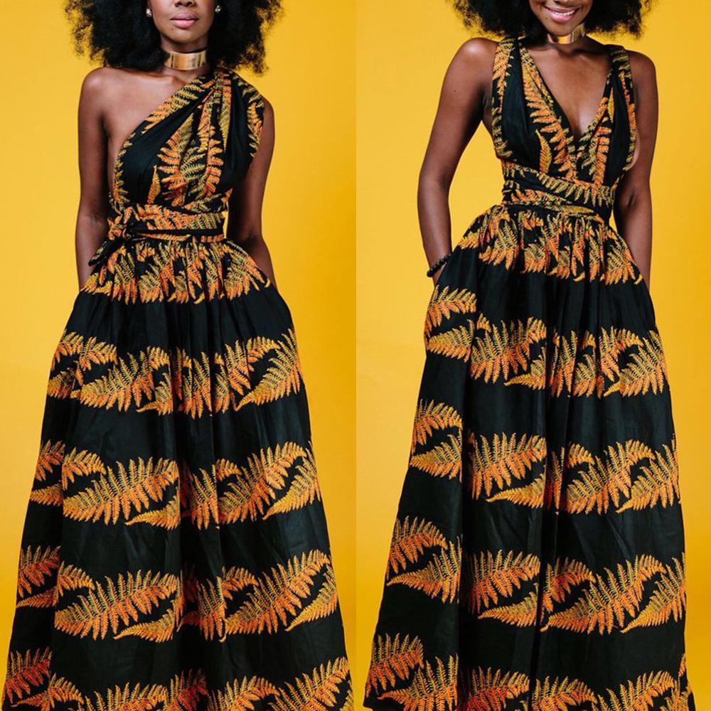 Fadzeco African Dresses For Women Dashiki Bazin Riche Floral High Waist Side Slit Long Maxi Dress Tribal Print Ankara Dress