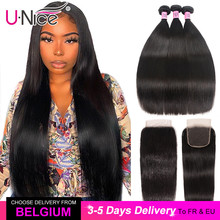Unice Haar 5X5 Hd Vetersluiting 28 30 Inch Met Peruaanse Steil Haar 3 Bundels 4Pcs 4X4 zwitserse Kant Menselijk Haar Weave Remy Haar