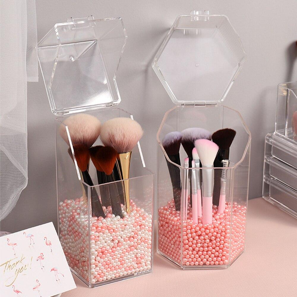 Жемчужный прозрачный акриловый Органайзер для косметики, контейнер для кистей для макияжа, контейнер для хранения губной помады, прозрачна...