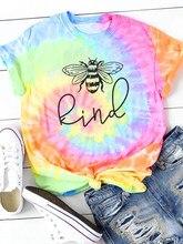 Tshirt Vrouwen Bee Soort Grafische Tee Leuke Cartoon Top Vrouwelijke Kleding Lente Zomer Kawaii Meisjes Streetwear Esthetische Tye Sterven Shirt