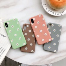 For Iphone 7 8 Plus 6s Morandi Green Daisy Print Phone Case IPhone X XS 6 6S Soft Silicone Coral Red Cover