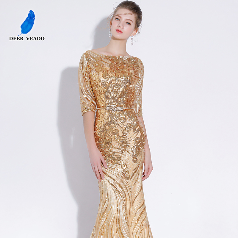 DEERVEADO Sexy Mermaid Evening Dress Long Half Sleeves Sequins Prom Gown Golden Formal Dress Women Occasion Party Dresses YS428