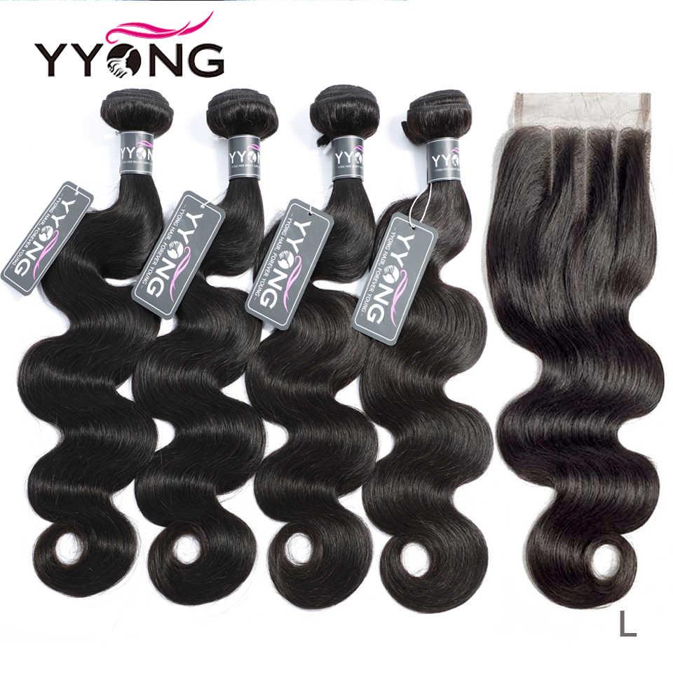 Mechones de cuerpo ondulado Yyong 3/4 con cierre extensiones de pelo ondulado mechones brasileños con cierre de encaje 4x4 Remy extensiones de cabello humano mechones con cierre