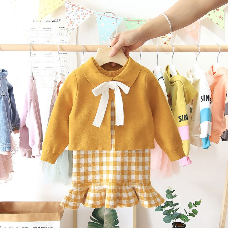 2020 Baby Girl Fashion Clothing Set Cute Bow Sweaters+plaid Dress,girls Infant Elegant Clothes Sets Children Party Birthday Wear 3