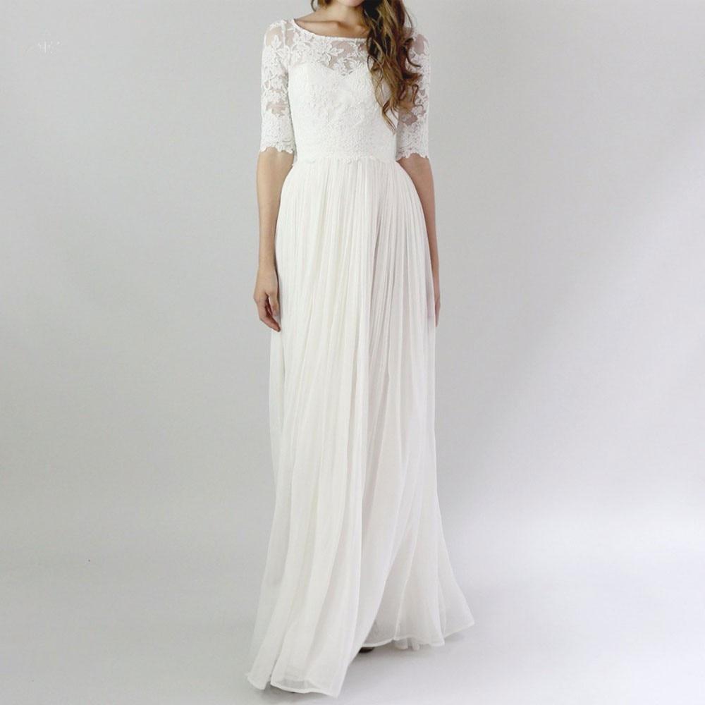 Gorgeous Lace Applique Chiffon 2018 Beach Bridal Gown Half Sleeve Long Marriage Vestido De Noiva Vintage Bridesmaid Dresses
