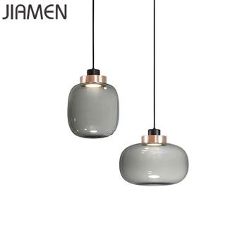 JIAMEN Nordic Led Pendant Lamp Modern Glass Hanging Lights for Home Living Room Bedroom Kitchen Luminaires Decor Simple Fixtures
