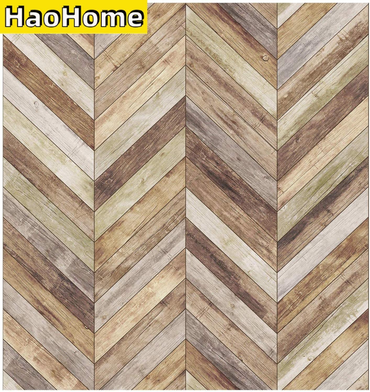 HaoHome-papel tapiz autoadhesivo de 3m para pared, con diseño de pelar y pegar, Panel de madera de espiga, prepegado