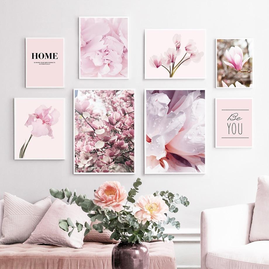 Pembe manolya şakayık çiçek ev tırnak duvar sanatı tuval yağlıboya İskandinav posterler ve baskılar duvar resimleri için oturma odası dekor