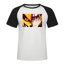 Fashion Japan Anime T Shirt Naruto Kurama Face Print Raglan Tshirt Men Summer High Quality Cotton Short Sleeve T-Shirt Men Tops(China)