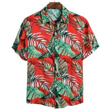 Новинка, Мужская короткая рубашка, свободная рубашка с пряжкой, Мужская Этническая Повседневная гавайская рубашка с коротким рукавом и принтом, летняя рубашка