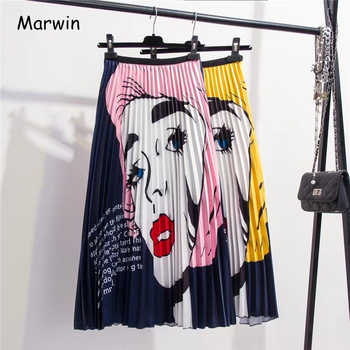 Marwin 2019 New-Coming Spring Summer Europen Printing Cartoon Pattern High Elasticity Pleated High Street A-line Women Skirts - DISCOUNT ITEM  52 OFF Women\'s Clothing