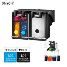 DMYON Ink Cartridge 802 Refillable Replacement for HP 802XL DeskJet 1050 2000 2050 3050 2150 3150 1010 1510 2540 Printer