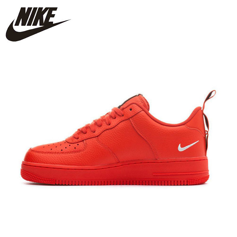 Nike Air Force 1 AF1 Men's Skateboarding Shoes Bright Red Deconstruction Simple Version Casual Sports Sneakers #AJ7747-800