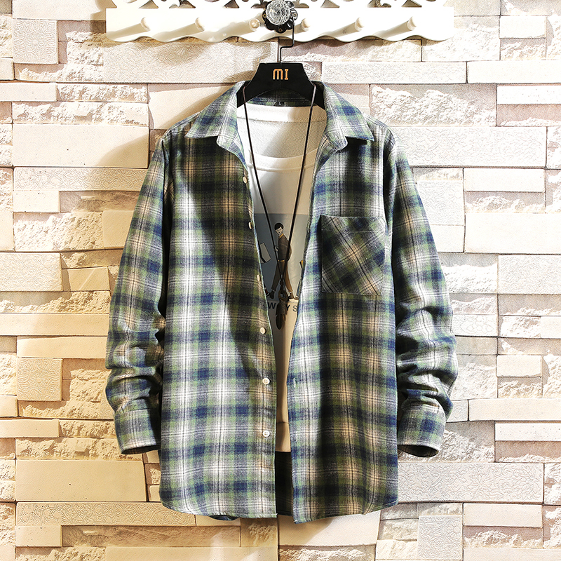 Casual Brand Plaid Men Shirts Long Sleeves 2020 New Spring Autumn Plus Asian Size M-5XL