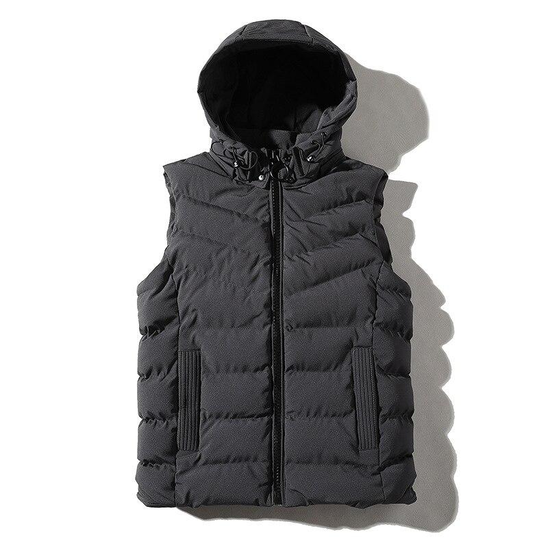 Haute qualité printemps automne veste sans manches pour hommes mode chaud à capuche mâle hiver gilet lumière 4XL hommes travail gilets gilet