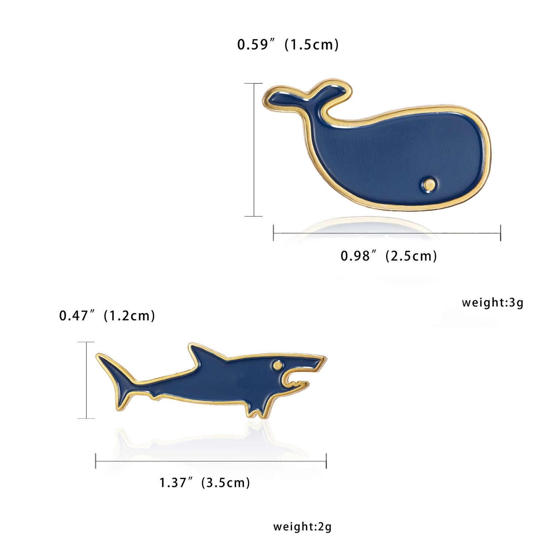 Hewan Laut Enamel Organisme Laut Lucu Hiu Paus Bros Lencana Denim Kemeja Kerah Pin Kartun Lucu Perhiasan Hadiah untuk anak-anak