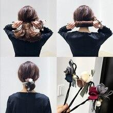 Новый Модный женский элегантный цветок, большие жемчужины, волосы, локоны для волос, сделай сам, стиль для волос, Пончик, лента, инструмент дл...