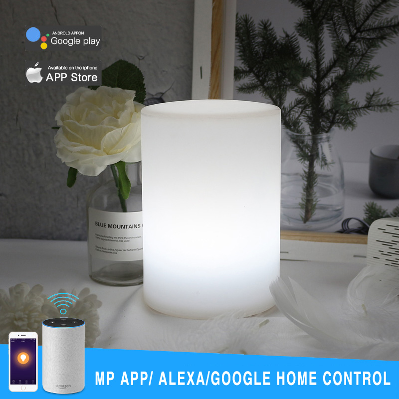 WIFI Smart Control Multicolor LED Cylinder Night Lamp Home Coffee Bar Table Mood Light Works With Alexa Google Home Mobile APP