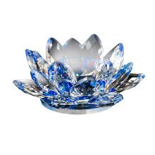 7 цветов с украшением в виде кристаллов Стекло цветок лотоса лампы в форме свечи Чай светильник держатель буддийские подсвечник Dli128