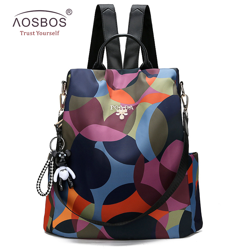 Aosbos Waterproof Oxford Women Backpack Fashion Anti-theft Women Backpacks Print School Bag High Quality Large Capacity Backpack