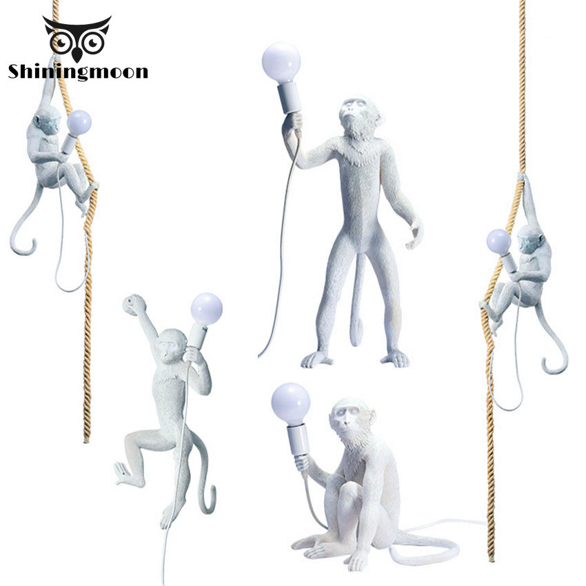 Nordic Monkey Lamp Coffee Shop Bar Pendant Lights Luminaire Modern Resin Pendant Lamp Metal Art For Garden Kitchen Hanging Lamp