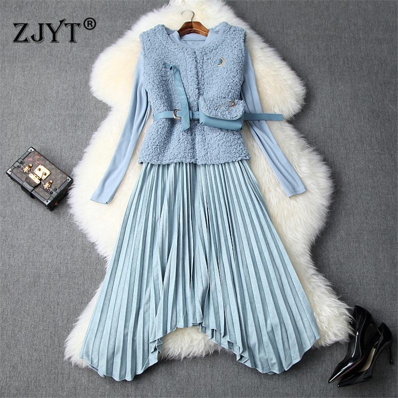 High Quality Autumn Winter Dresses For Women 2019 New Designers Short Fur Jacket+Long Sleeve Irregular Pleated Midi Dress 2pcs