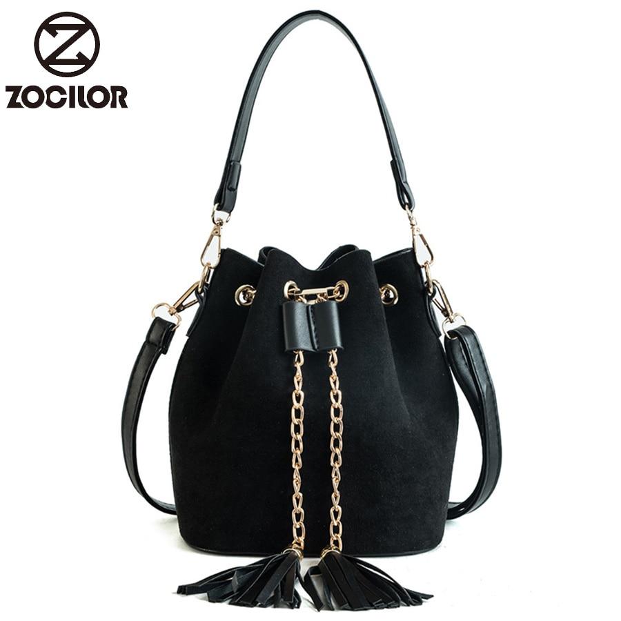 Fashion New Mini Crossbody Handbags Cute Suede Bucket Bag Organizer Small Tassel PU Leather Womens Shoulder Messenger Bags