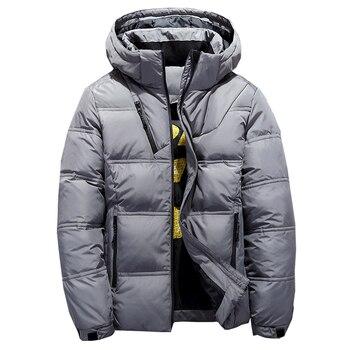 2019 zimowy z kapturem kaczka w dół kurtki męskie ciepłe grube jakości dół płaszcze męskie płaszcz zimowy dół parki mężczyźni Puffer kurtki