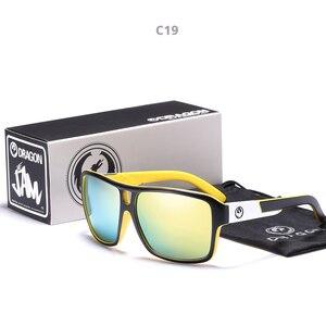 Image 2 - Mirrored lens Mannen Dragon Merk Ontwerp Rijden Vissen zonnebril Vierkante Glazen Voor Mannen UV400 Zomer Shades Eyewear