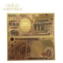 10 adet/grup altın 999 renkli japonya banknot 2,000 Yen banknot 99.9% altın kaplama sahte kağıt para koleksiyonu için