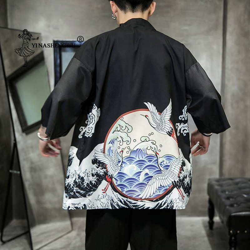 Japanese Kimono Traditional Yukata Casual Cardigan Shirt Kimono Cardigan Men Beach Thin Asian Clothing Japan Kimonos Male Coat