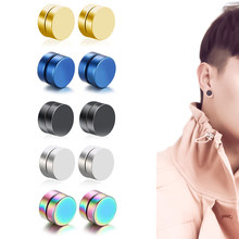 Korean Punk Ear Cuffs for Women Clip On Earrings Round Magnet Stone Men's Fake Piercing Black Earrings Stainless Steel Jewelry