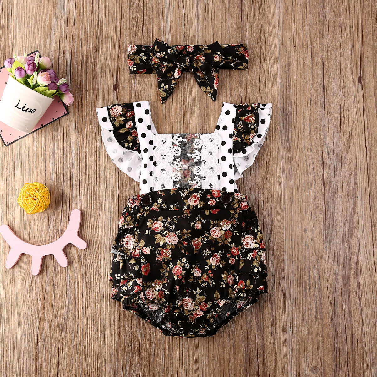 Pudcoco Newborn Baby Girl Clothes Flower Print Lace Ruffle Sleeveless Romper Jumpsuit Headband 2Pcs Outfits Sunsuit Clothes