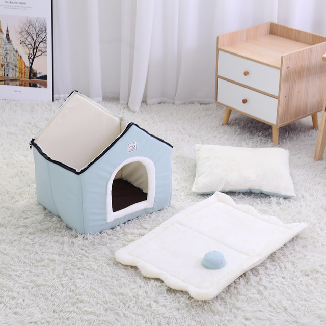 HOOPET Dog House Indoor Warm Kennel Pet Cat Cave Nest Rabbit Nest Washable Removable Mat Cozy Sleeping Bed For Cats 4