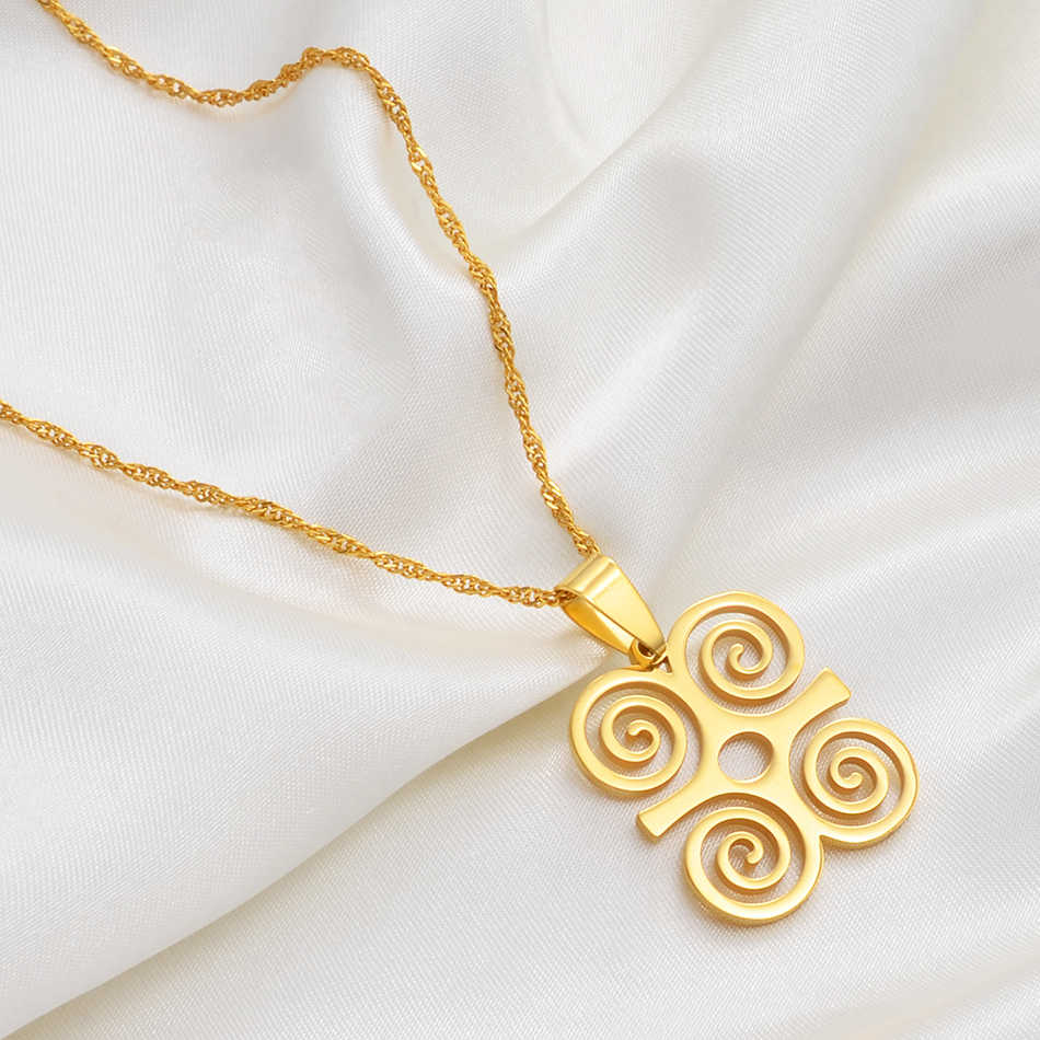 Anniyo afrykański Symbol naszyjniki Akofena Dwennimmen Adinkra Sankofa symbole ghańskie etniczne biżuteria prezenty #123621