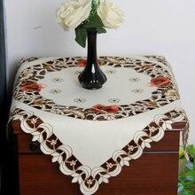 Mantel bordado Vintage blanco, mantel cuadrado de algodón de encaje Floral para bodas, fiestas, celebraciones, recepción