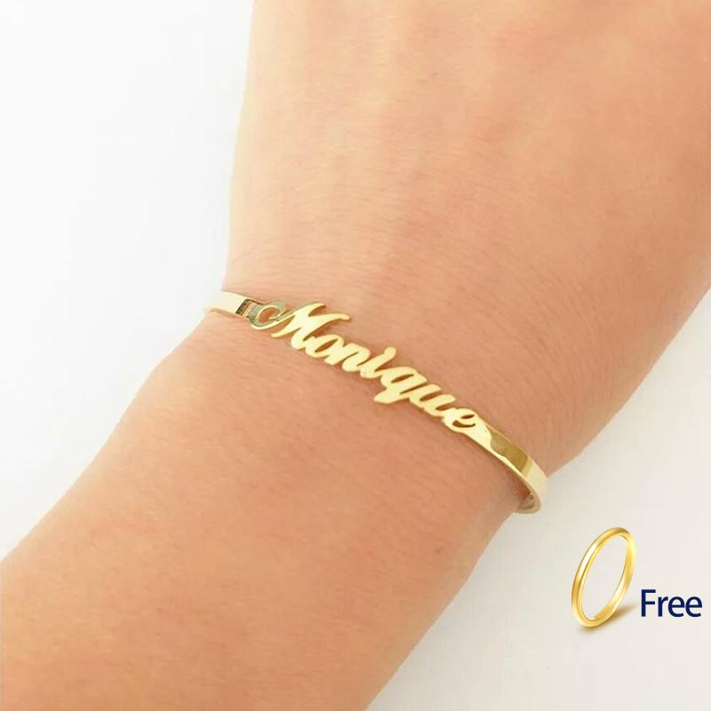 Custom Name Bracelets Bangles Gold Bangle Personalized Name Bangle Stainless Steel Adjustable Nameplate Kids Bangle Bijoux Femme