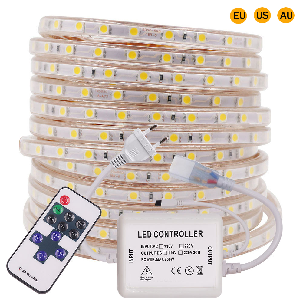 110V 220V LED Strip Light Flexible LED Tape SMD5050 60LEDs/M Waterproof LED Tape with 11 Key IR Dimmer LED Ribbon EU/US/AU Plug