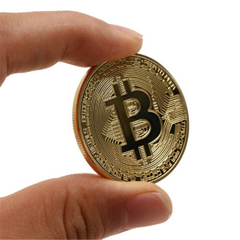 Gold/Silver Plated Bitcoin Collectible BTC Coin Pirate Treasure Props Toys For Halloween Party