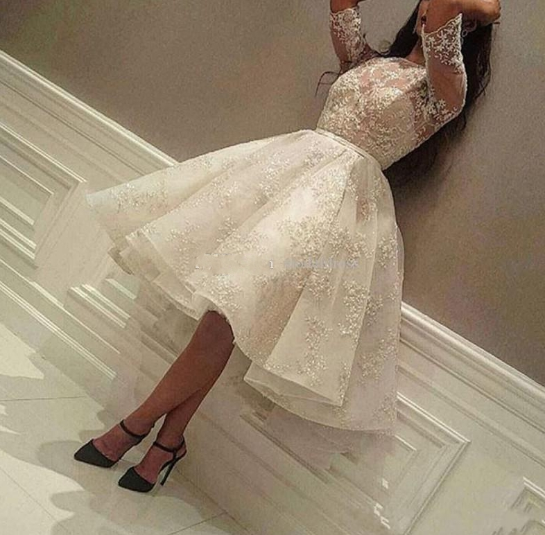New Knee Length Cocktail Dresses 2020 Jewel Half Sleeve Ball Gown Short Modest Full Lace Arabic Prom Party Evening Gowns Cheap