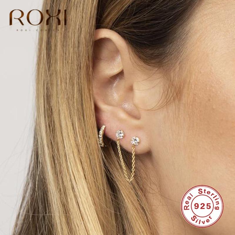 ROXI Minimal 925 Sterling Silver Long Chain Drop Earrings for Women Gril Jewelry Korean Earring Ladies AAA Zircon Dangle Earring
